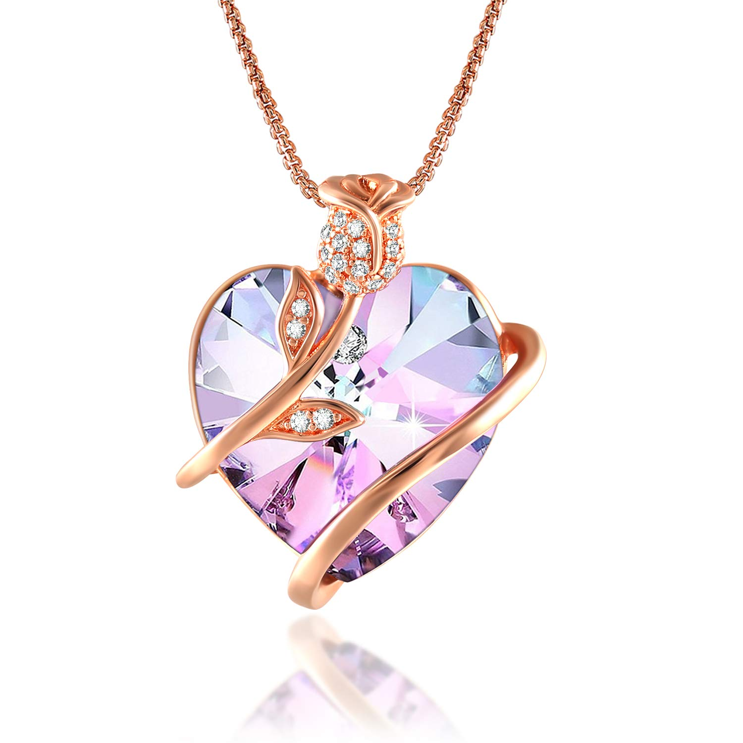 Angelady Rose Flower Heart Necklace for Women, Crystals from Swarovski, Crystal Pendant Necklaces in White Bow Gift Box,Valentine's Day Necklace Gifts for Wife Girlfriend Friend Daughter
