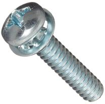 "Steel Machine Screw, Zinc Plated Finish, Pan Head, Phillips Drive, Meets ASME B18.13, Internal-Tooth Lock Washer, 3/8"" Length, Fully Threaded, #6-32 UNC Threads (Pack of 100)"