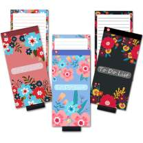 Magnetic Notepads with Pen Holder and Cover for Refrigerator, Grocery Shopping To Do List Notepad for Fridge, Full Magnet Back Memo Pad Reminder, Flower Designs, 4x8 Inches, 60 Sheets, 3 Pack