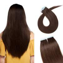 S-noilite 20Pcs 60g Remy Tape in Hair Extensions Human Hair Seamless Skin Weft Invisible Double Sided Glue in hair for women Silky Straight 16 Inch #04 Medium Brown Color