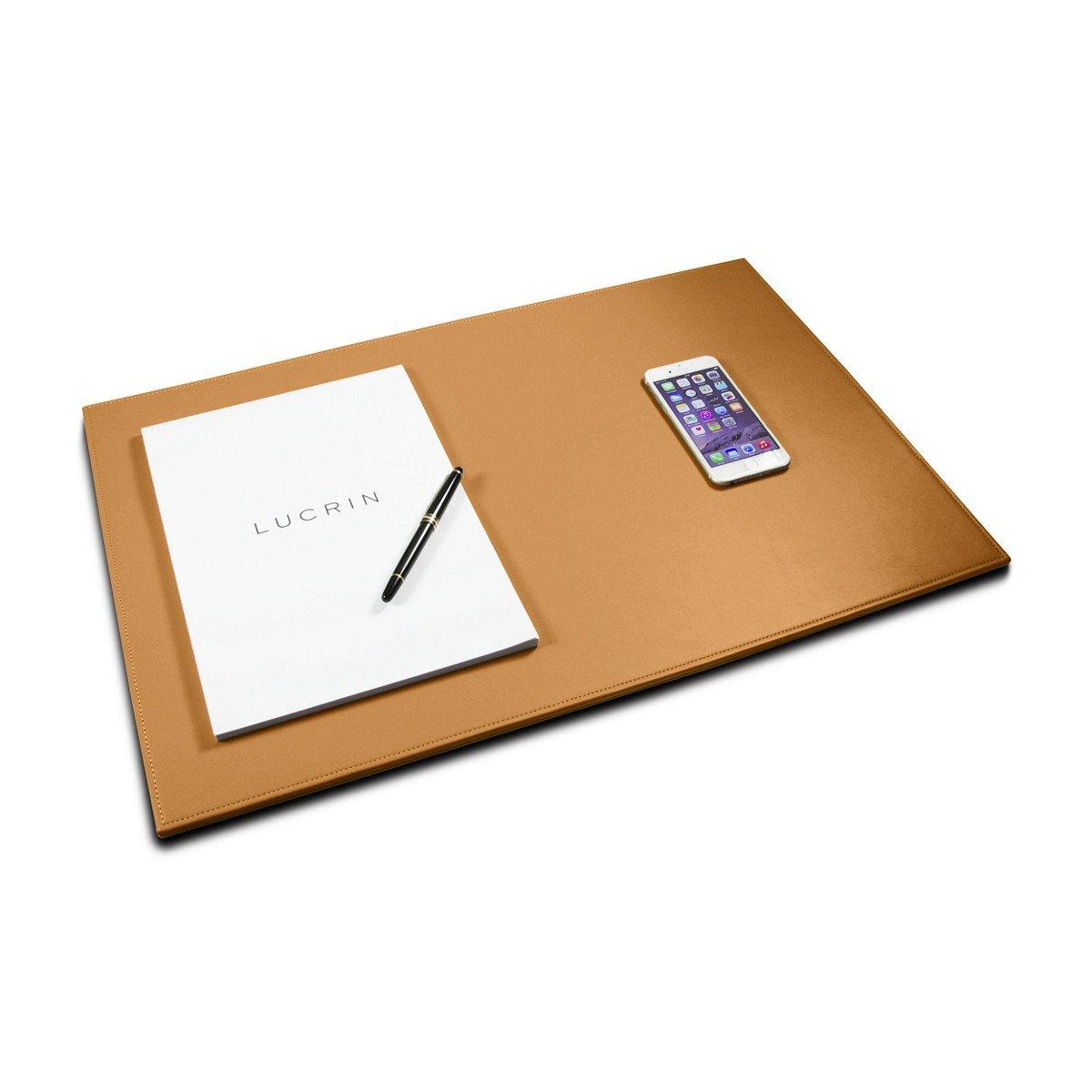 "Lucrin - Custom Desk pad blotter (23.6"" x 15.7"") - Natural - Genuine Leather"