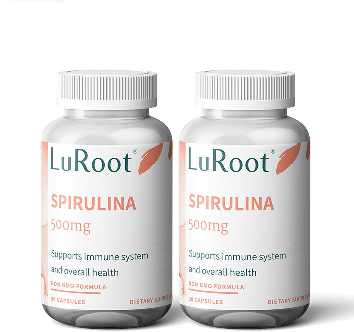 LuRoot Organic Spirulina Superfood Non-GMO-500 mg Powder Capsules, Spirulina Powder Supplement | High Protein Rich in Vitamins and Calcium - 90 Count (1 Pack) (2)