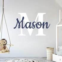 """Custom Name & Initial - Prime Series - Baby Boy Girl Unisex - Wall Decal Nursery for Home Bedroom Children (Wide 22"""" x 15"""" Height)"""