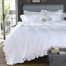 Queen's House Duvet Cover Set Washed Cotton White Ruffled Duvet Quilt Cover with Zipper Bedding Set Full Size-Shabby Ruffle,White