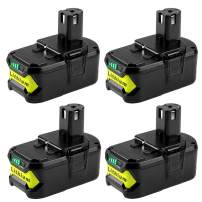 4-Pack 4.0Ah Replacement for Ryobi 18V Lithium ion ONE+ Compact Battery P104 P100 P108 P102 P107 P105 P109 P103 Compatible with Ryobi 18-Volt ONE Plus Cordless Batteries