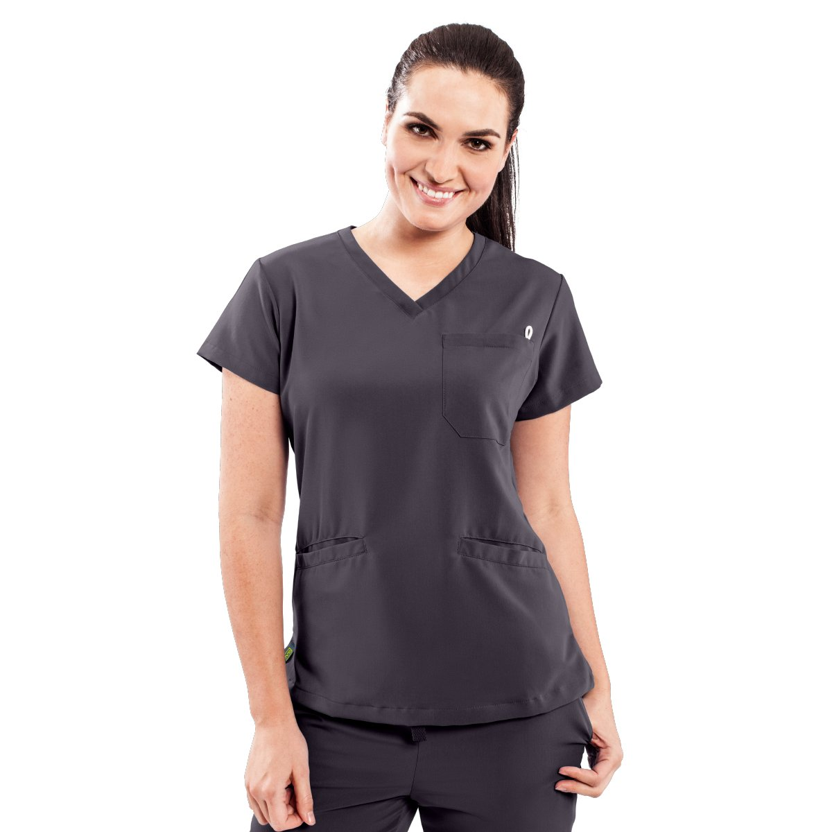 ave Women's Medical Scrub Top, Berkeley ave, V-Neck Scrub Shirt, 2 Pockets, Wrinkle Resistant, Great for Nurses, Charcoal, Small