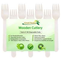 """Disposable Wooden Forks, 100 Piece, 6"""" Length Eco Friendly Biodegradable Compostable Wooden Utensils Wooden Cutlery"""