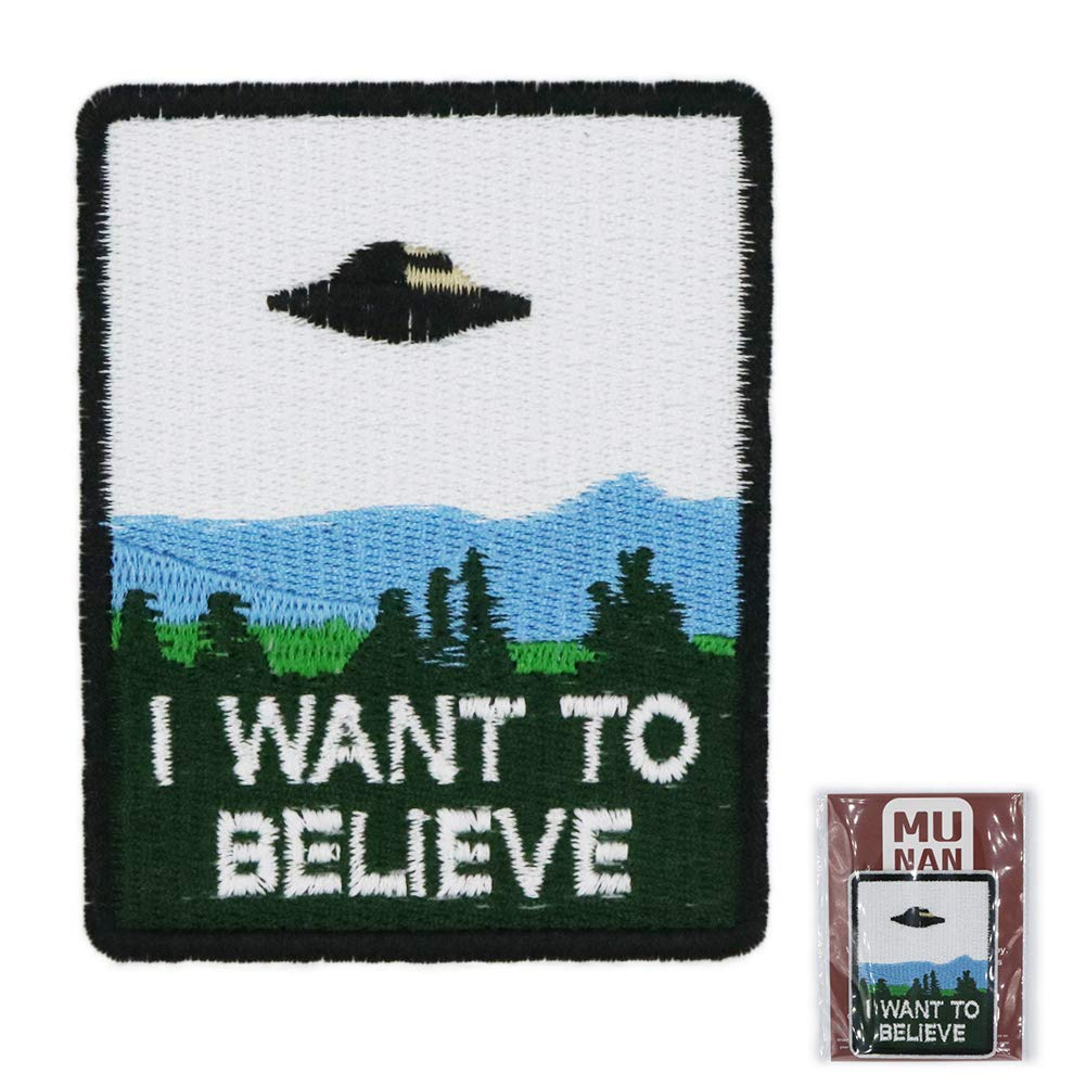MUNAN UFO I Want to Believe Patch sew on Patches Iron On Sewing Embroidered Patches Badge Applique for Clothes Jacket Jeans Cap
