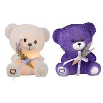 Valentine's Day Flameless Candles Real Wax LED Bear Candle Romantic Gift Set with Timer for Wedding Table Centerpiece Dinner Decor Party Favor-Set of 2