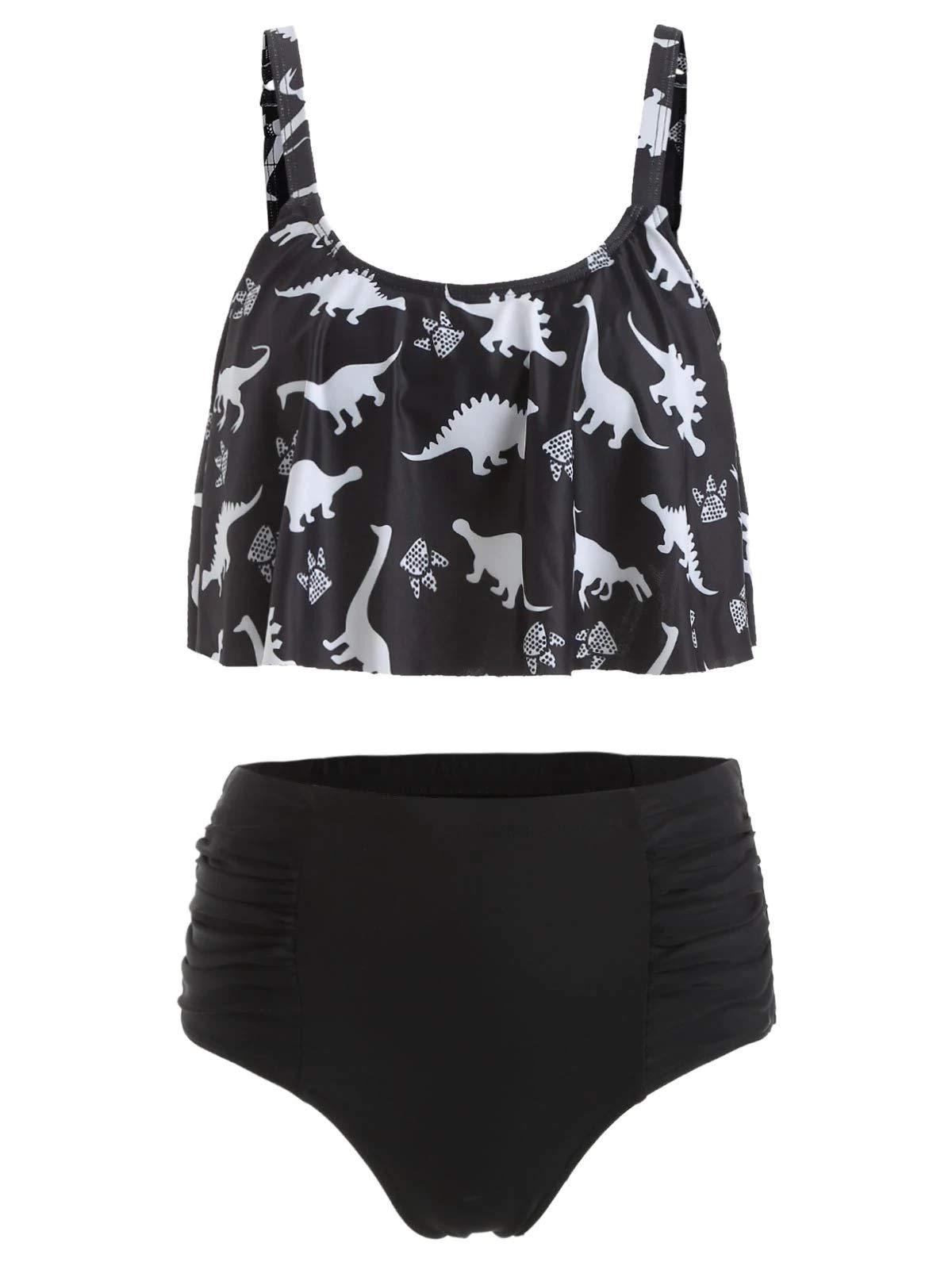 LeaLac Womens Dinosaur Print Straps Ruched High Waisted Bikini Bottom Flounce Swimsuit Set Two Piece Swimsuit Bathing Suit