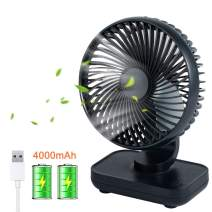 USB Desk Fan Small Quiet Personal Table Fan 4000mAh Rechargeable Battery Operated Portable Mini Fan for Desk Office Bedroom Camping Home, 4 Speeds - Dark Blue