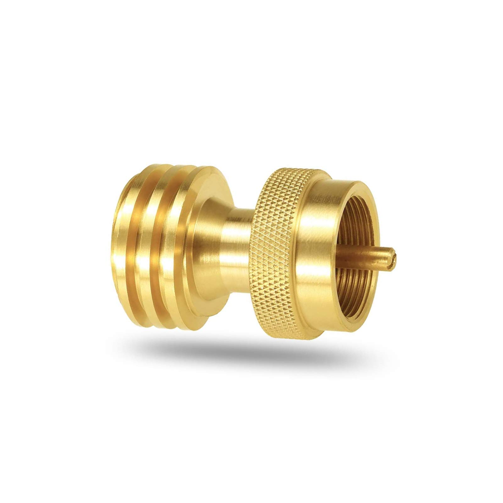 Uniflasy Propane Tank Adapter for Disposable Throwaway Cylinder Brass Saver Adapter 1 lb to 20 lb Round Propane Adapter Converter Universal Small Bottle for Gas Grill and Propane Tree Cylinder Thread