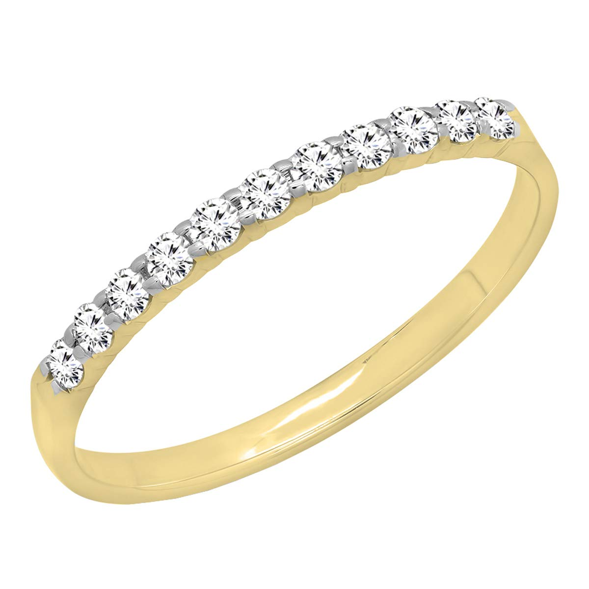 Dazzlingrock Collection 0.20 Carat (ctw) 14K Gold Round Lab Grown Diamond Ladies Stackable Wedding Band 1/5 CT