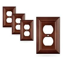 Pack of 4 Wall Plate Outlet Switch Covers by SleekLighting   Decorative Dark Brown Mahogany Look   Variety of Styles: Decorator/Duplex/Toggle / & Combo   Size: 1 Gang Duplex