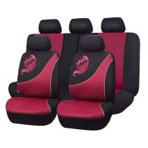 Flying Banner Car Seat Covers 11 PCS Front Seats and Rear Bench Polyester Cover Embroidered Butterfly Three-Dimensional (3D) Black with Red Color