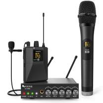 FIFINE Wireless Microphone Transmitters & Receiver, Dual Cordless Mic System with Handheld Lapel Mic, Selectable UHF Frequency, Extra 1/4 Mic Input, Audio Input, for Church Wedding Presentation-K036A