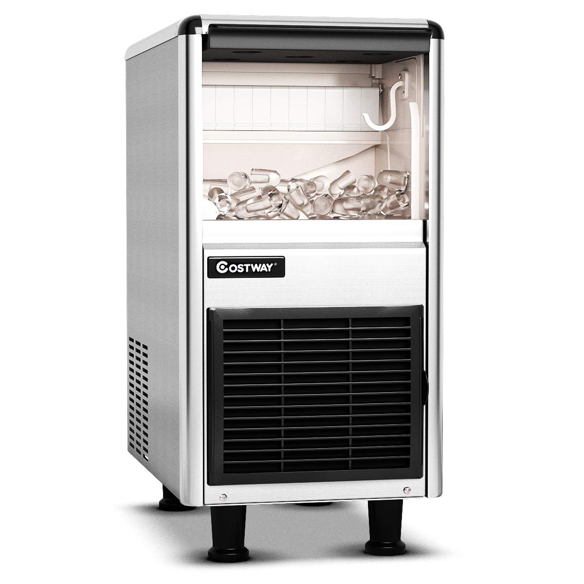 COSTWAY Commercial Ice Machine, 110LBS/24H Stainless Steel Ice Maker with 33LBS Storage Capacity, LCD Display, High efficient Compressor, Free-Standing Design for Restaurant, Bar and Coffee Shop
