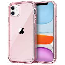 """iPhone 11 Case, Anuck Crystal Clear Heavy Duty Defender Phone Case 3 Layer Shockproof Full-Body Protective Case Anti-Scratch Hard PC Shell & Soft TPU Bumper Cover for iPhone 11 6.1"""" 2019 - Clear Pink"""