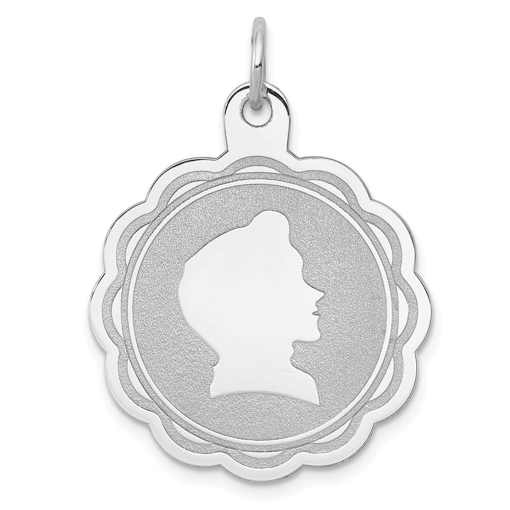925 Sterling Silver Engraveable Boy Disc Pendant Charm Necklace Engravable Right Facing Girl Head Laser Designed Fine Jewelry For Women Gifts For Her