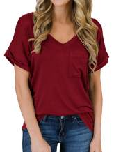 Tymidy Women's Casual Basic V-Neck with Pocket T-Shirt Color Block Loose Short Sleeve Tee Shirts Tops