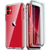 COOLQO Compatible for iPhone 11 Case, with [2 x Tempered Glass Screen Protector] Clear 360 Full Body Coverage Hard PC+Soft Silicone TPU 3in1 [Certified Military Protective] Shockproof Phone Cover
