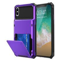 Maxdara Case for iPhone Xs Max, iPhone Xs Max Wallet Card Holder with Credit Card Slot Dual Layer Hybrid Rugged Rubber Bumper Hard Protective Case Wallet Holder for iPhone Xs Max 6.5 inch, Purple