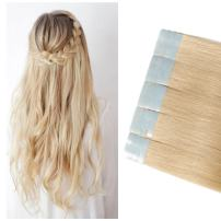 """Tape in Hair Extensions Blonde Human Hair Grade 6A 16-22inch Double Side Tape Seamless Skin Weft Rooted Natural Hair Extensions Long Straight (20"""" / 20 inch 60g,#613 Bleach Blonde)"""