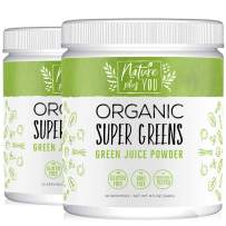 Super Greens Powder Organic Blend - 2 Pack Bundle, 60 Servings, Includes Spirulina, Alfalfa, Spinach, Acai, Probiotics and Digestive Enzymes, No Artificial Sweeteners, by Nature Plus You