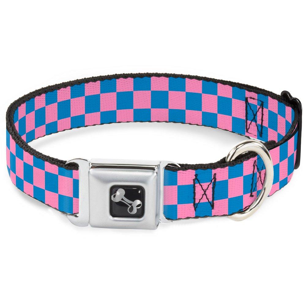 Buckle-Down Seatbelt Buckle Dog Collar - Checker Baby Pink/Baby Blue