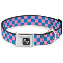 Buckle-Down Seatbelt Buckle Dog Collar - Checker Baby Pink/Baby Blue