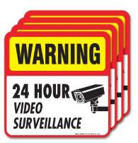 Video Surveillance Sign Stickers,(4 Pack) 5x5 4 Mil Sleek Vinyl Decal Stickers Weather Resistant Long Lasting UV Protected/Waterproof, Made in USA by SIGO SIGNS