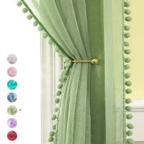MIULEE Linen Textured Window Sheer Curtains with Pom Pom for Bedroom Living Room Semi Transparent Kids Voile Panels for Light Filtering W 54 x L 90 Inches 2 PCs Green