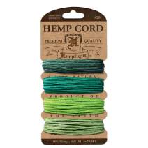 Hemptique Hemp Cord 4 Color Cards - Made with Love - Crafter's No. 1 Choice – Eco Friendly – Plant Hanger - Scrapbooking – Gardening – Macramé – Home Décor (Emerald Pack)