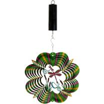 Sunnydaze Reflective 3D Whirligig Dragonfly Wind Spinner with Hook, 12-Inch, Battery Operated Motor