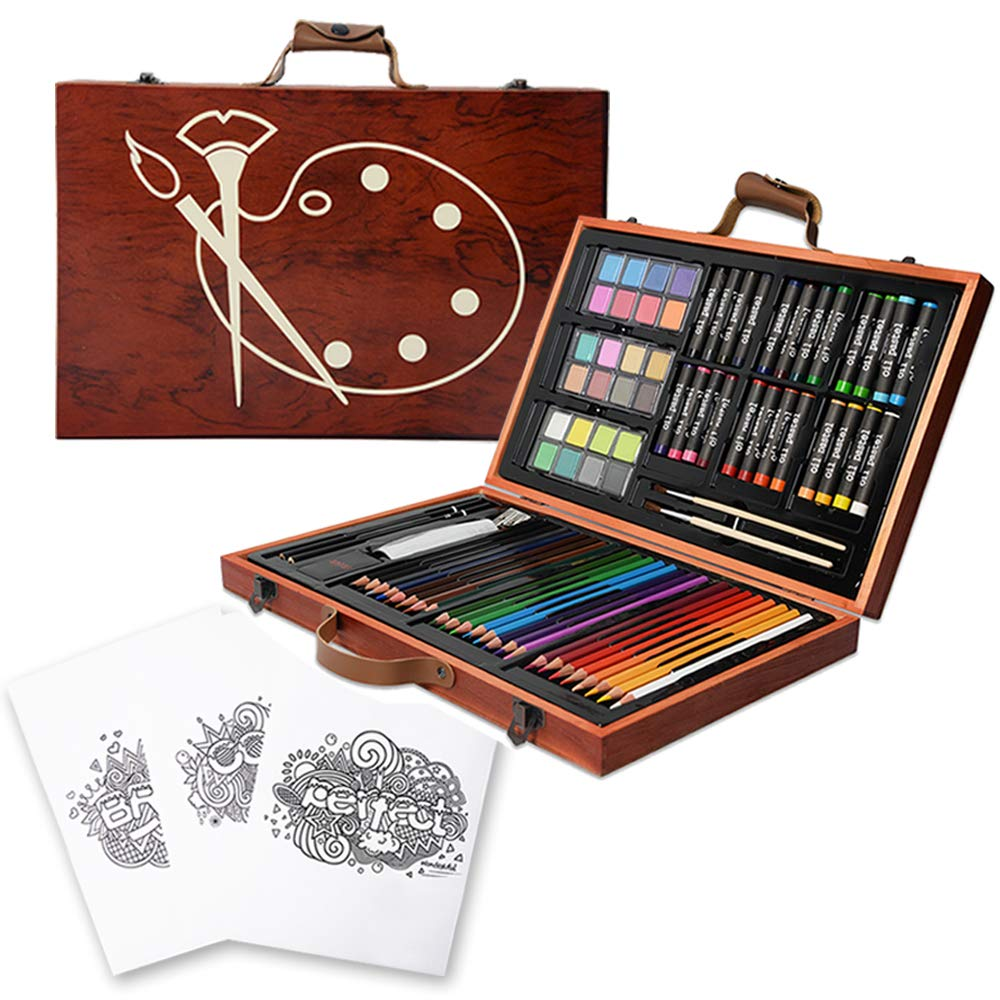 KIDDYCOLOR Portable Art Set for Kids 85 Pcs Painting & Drawing Oil Pastels Color Pencil with Wood Case