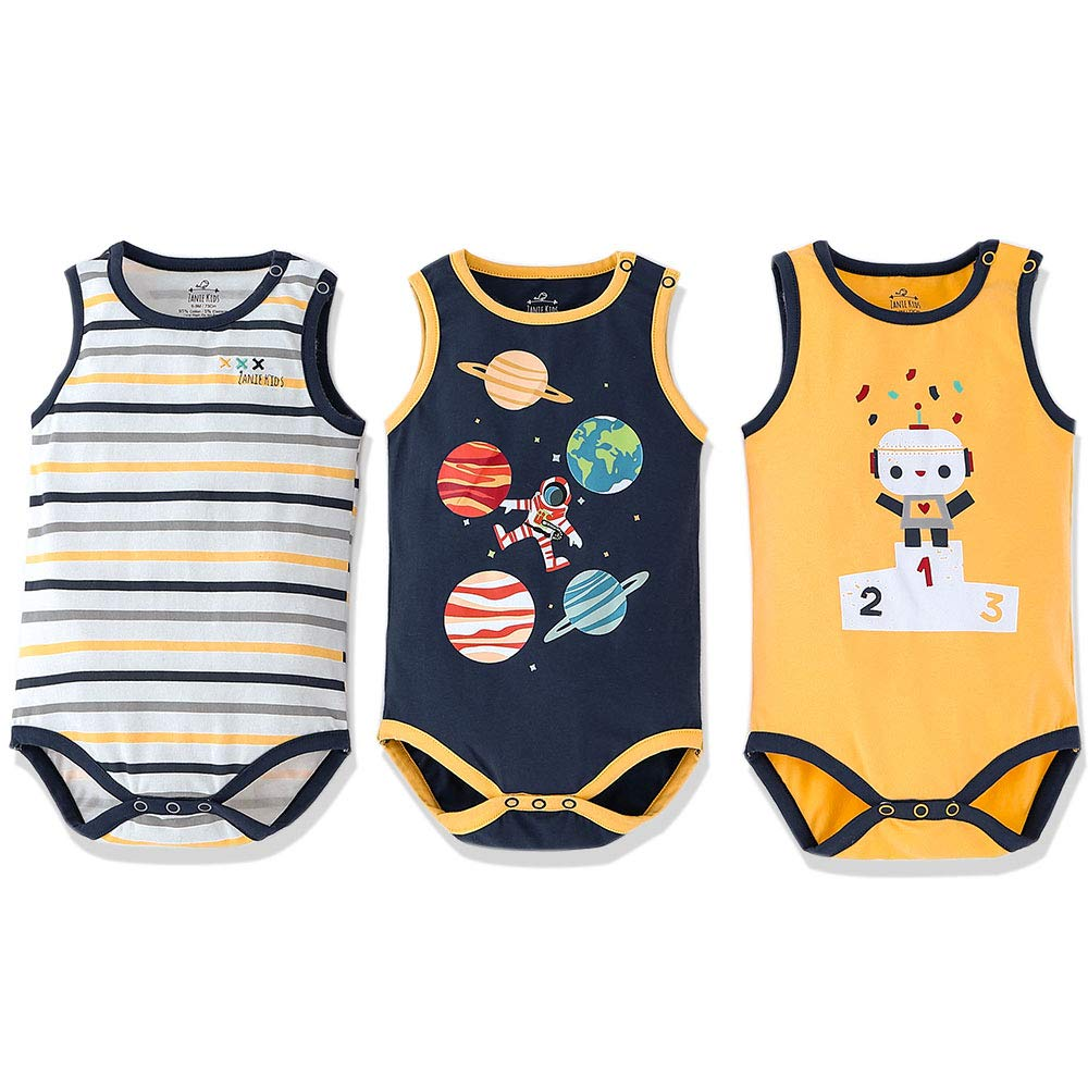 Zanie Kids Baby Boy Short Sleeves Summer Bodysuits Infant Sea Animals Print Cotton Soft Clothes, 3- Pack