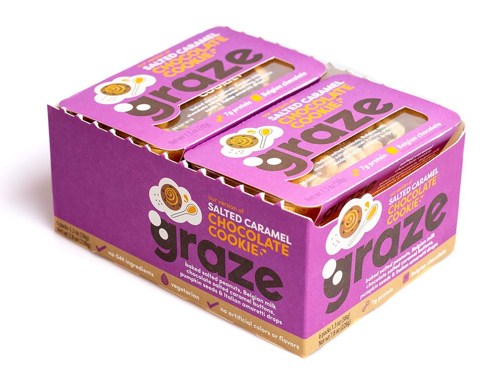 Graze Salted Caramel and Chocolate Cookie Mix - Peanuts, Milk Chocolate Salted Caramel Buttons, Almond Cookie Drops & Pumpkin Seeds - 1.3 Ounce Box (6 Pack)