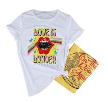 Love is Louder Graphic T-Shirts Women's Funny Novelty Lips Printed Short Sleeve Tee Top
