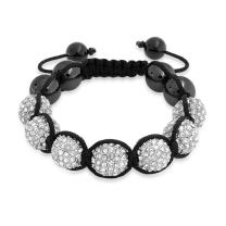 Bling Jewelry Black White Gold Tone Bead Pave Crystal Ball Shamballa Inspired Bracelet for Women for Men Cord String Adjustable 12MM