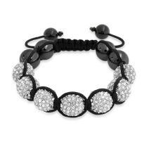 Bling Jewelry Black White Gold Tone Bead Pave Crystal Ball Shamballa Inspired Bracelet for Women for Men Cord String Adjustable 12MM