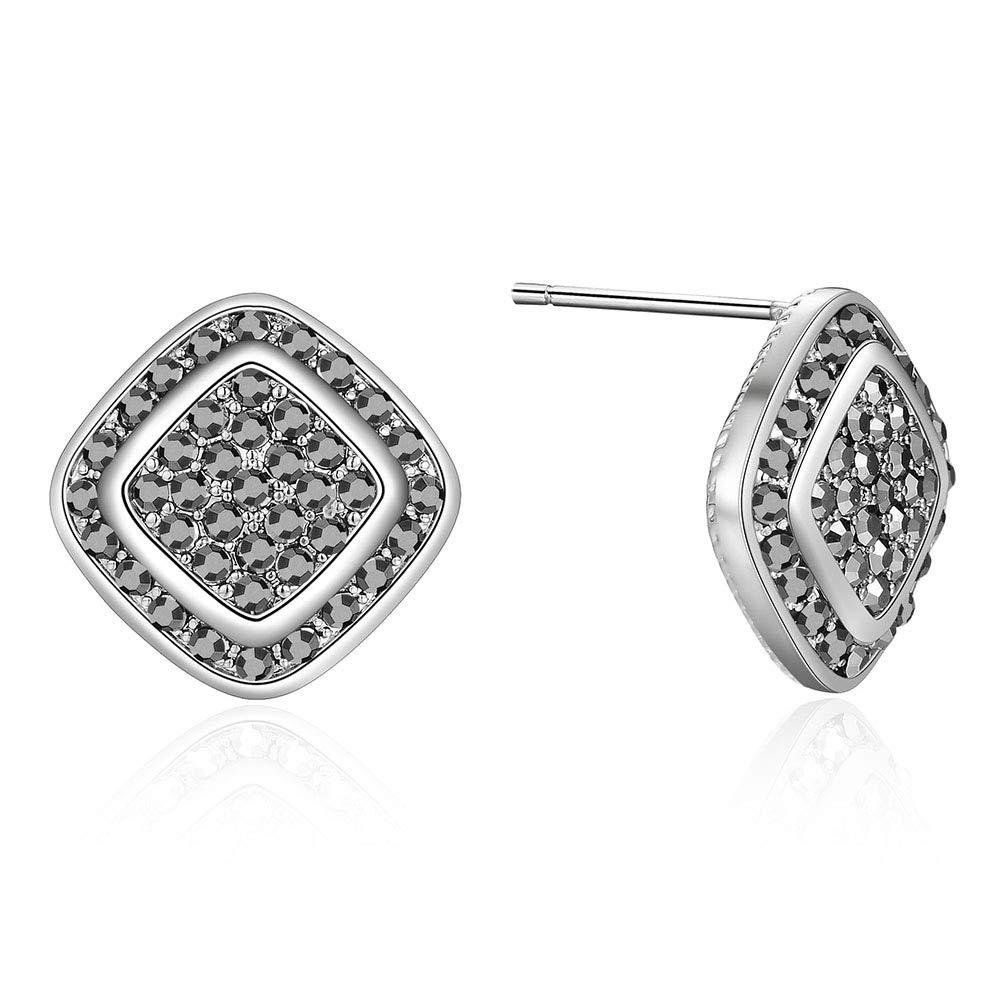 Mytys Silver Marcasite Earrings Studs for Women Black Stone Round-Cut Black Cubic Zirconia Studs Earrings