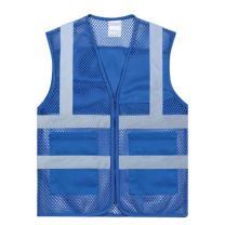 TOPTIE 2 Pockets High Visibility Zipper Front Mesh Reflective Vest, Multiple Color for Team Activity-Blue-2XL