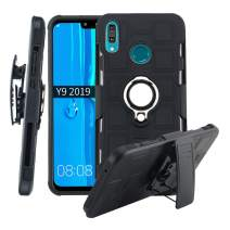 Lantier High Impact 3 Layer Hybrid Full Shockproof Armor Rugged Holster Protection Case with Kickstand Magnet 360 Degree Rotating Ring Belt Swivel Clip for Huawei Y9 2019 Black