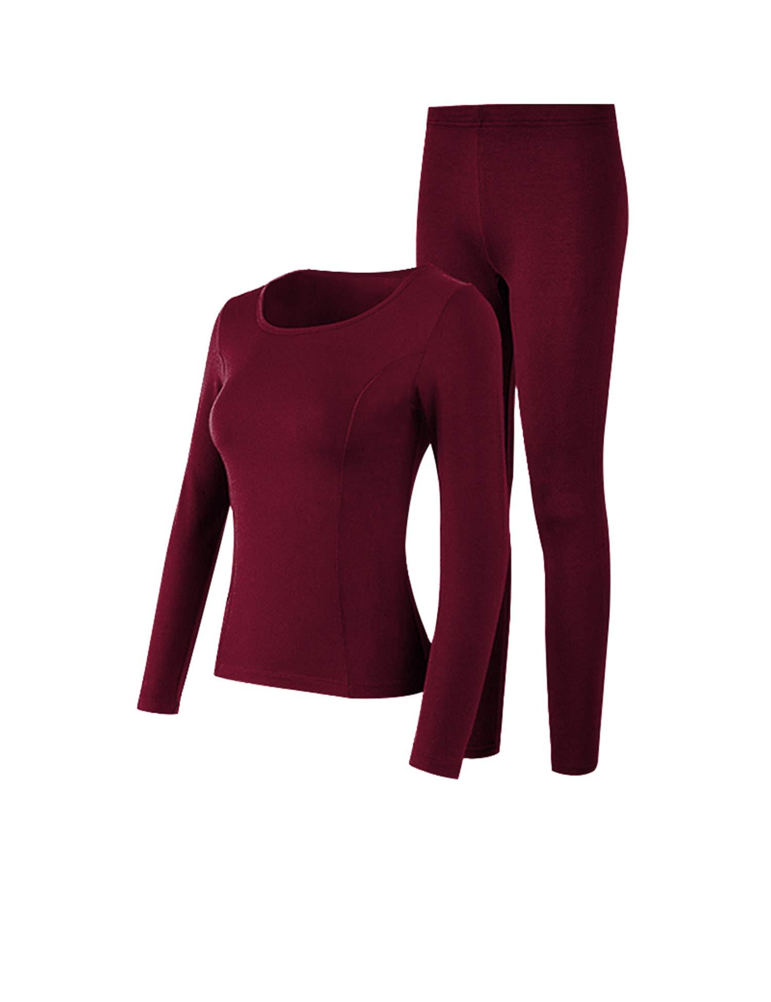 COLORFULLEAF Womens Thermal Underwear Set Cotton Long Johns Base Layer Top /& Bottom Pajama