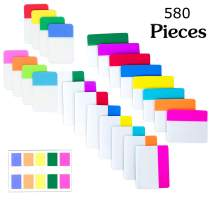 580 Pieces Sticky Index Tabs, 0.5,1,2 Inch Writable and Repositionable Colored File Tabs Flags for Reading Notes, Books,Page Markers and Classify Files, 25 Sets 12 Colors
