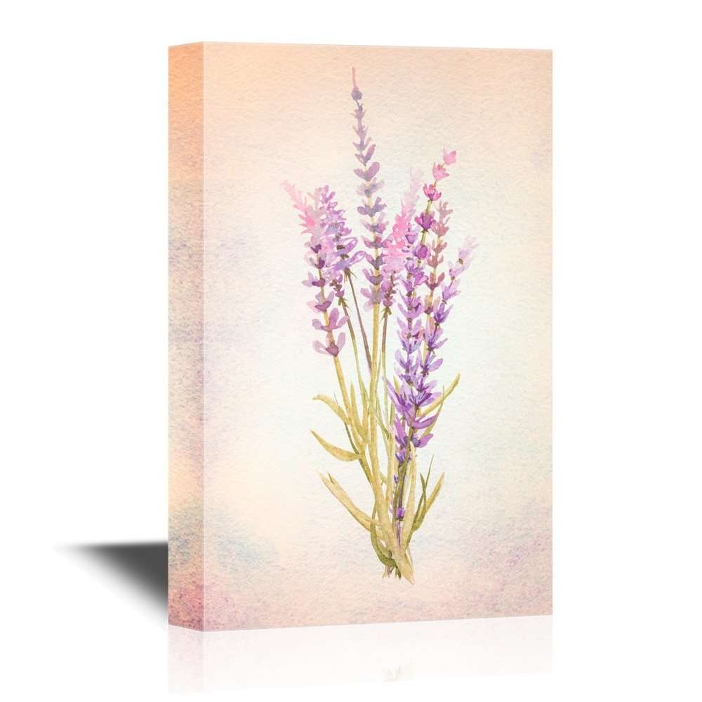 wall26 - Leaf and Floral Canvas Wall Art - Abstract Purple Flower on Watercolor Style Background - Gallery Wrap Modern Home Decor   Ready to Hang - 24x36 inches