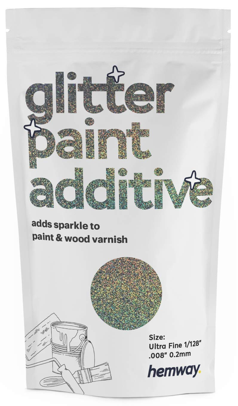 "Hemway Glitter Paint Additive Ultra Fine/Extra Fine 1/128"" .008"" 0.2MM Emulsion Water Based Paints Wall Ceiling 100g / 3.5oz (Gun Metal Grey Holographic)"