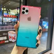 iPhone 11 Pro Max Square Case,Tzomsze Clear Case Cute Gradient Slim Silicone Transparent Reinforced Corners TPU Cushion Cover Case for iPhone 11 Pro Max [6.5 inch]-Pink Green