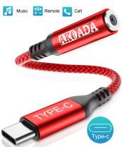 USB C to 3.5mm Headphone Jack Adapter, AkoaDa Type C to Audio Converter Nylon Cable Compatible with Samsung Galaxy S20 Ultra Note 10 S10 S9 Plus iPad Pro 2018 2019 Pixel 4 3 2 XL and More, Red
