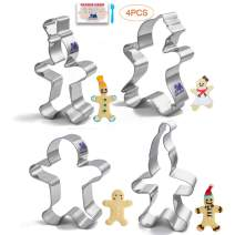 Gingerbread Man Cookie Cutter Set Gingerbread Boy and Girl Gingerbread man with hat 4 PCS with Recipe for Biscuit, Fondant, Birthday Party Stainless Steel